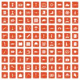 100 war crimes icons set grunge orange. 100 war crimes icons set in grunge style orange color isolated on white background vector illustration Royalty Free Stock Photography
