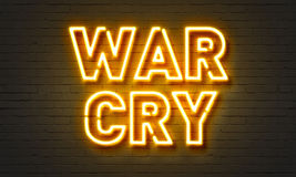 War cry neon sign on brick wall background. War cry neon sign on brick wall background Royalty Free Stock Photos