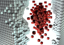 War of cubes. Abstract background with futuristic network elements Royalty Free Stock Images