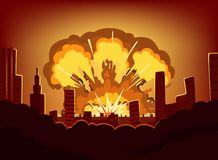 War and damages after big explosion in the city. Monochrome urban landscape with burn sky after atomic bomb. Nuclear radioactive armageddon, vector stock illustration