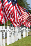 War Dead Honored With Crosses For Memorial Day. Duluth, GA, USA - May 19, 2012:  Crosses marked with the names of Duluth's fallen soldiers and the wars they died Royalty Free Stock Image