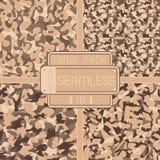 War desert brown safari camouflage pack 4 in 1 seamless vector pattern Stock Photo
