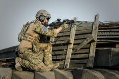 War, Desert, Guns, Gunshow, Soldier Royalty Free Stock Image