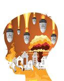 War Destroyed City Village with fire in child head. Paper art style Stock Photo