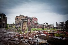 War devastation fear Russia, scenery, wet, dirty,. Abandoned houses and ruined city wet and muddy Royalty Free Stock Image