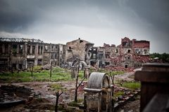 War devastation fear Russia, scenery, wet, dirty, home town. Abandoned houses and ruined city wet and muddy,Stalingrad Royalty Free Stock Photo