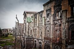 War devastation fear Russia, scenery, wet, dirty, home town Royalty Free Stock Image