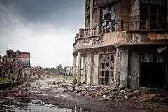War devastation fear Russia, scenery, wet, dirty, home town Stock Image
