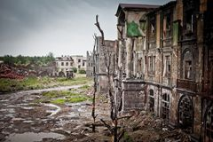 War devastation fear Russia, scenery, wet, dirty, home town. Abandoned houses and ruined city wet and muddy,Stalingrad Royalty Free Stock Image