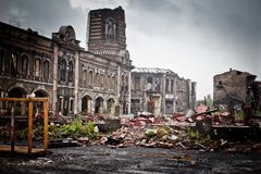 War devastation fear Russia, scenery, wet, dirty, home town Stock Photos