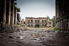 War devastation fear Russia, scenery, wet, dirty, home town Royalty Free Stock Images