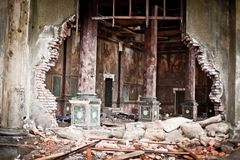 War devastation fear Russia, scenery, wet, dirty, home town Royalty Free Stock Photos