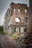 War devastation fear Russia, scenery, wet, dirty, home town. Abandoned houses and ruined city wet and muddy,Stalingrad Stock Photo