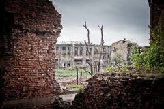 War devastation fear Russia, scenery, wet, dirty, home town. Abandoned houses and ruined city wet and muddy,Stalingrad Stock Image