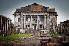War devastation fear, scenery, wet, dirty, home town Royalty Free Stock Image