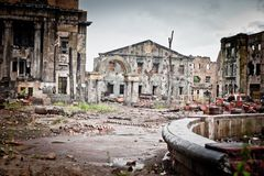 War devastation fear, scenery, wet, dirty, home town. Abandoned houses and ruined city wet and muddy,Stalingrad Royalty Free Stock Photos
