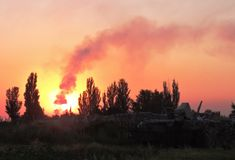 War in the Donbass. Ukraine stock images