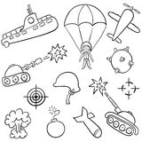 War doodles. Hand-drawn doodles on the war themes royalty free illustration