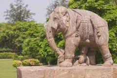 War Elephant at Konark Temple. Statue of an enraged elephant in the grounds of the ancient Surya Hindu Temple at Konark Orissa India. 13th Century AD Stock Photos