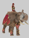War elephant and warrior Royalty Free Stock Images