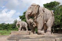 War elephants sculpture, Sun temple Konark. Konark Sun Temple  also known as the Black Pagoda ia a 13th-century Sun Temple at Konark, in Orissa.The entire temple Royalty Free Stock Photo