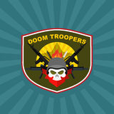 War emblem. Military logo. Skull wearing a helmet with a weapon Stock Photo