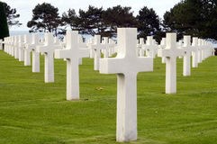War Graves. Grave Stones at the American Cemetery at Omaha Beach, Normandy, France Stock Image