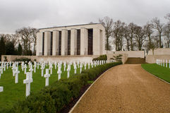 War Graves. Grave Stones at the American Cemetery at Madingley, Cambridgeshire, England Stock Images