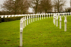 War Graves. Grave Stones at the American Cemetery at Madingley, Cambridgeshire, England Stock Photos