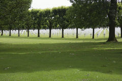 War graves seen from the center lane Meuse-Argonne American Cemetery Royalty Free Stock Photo