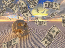 War Greed. Human Skull with Currency and Nuclear Explosion Royalty Free Stock Photo