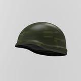 War. Helmet on gray background. 3d render Stock Photo