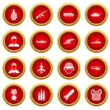 War icon red circle set Royalty Free Stock Image