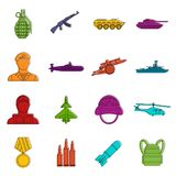War icons doodle set. War icons set. Doodle illustration of vector icons isolated on white background for any web design Royalty Free Stock Photography