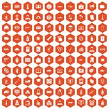 100 war icons hexagon orange. 100 war icons set in orange hexagon isolated vector illustration Royalty Free Illustration
