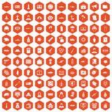 100 war icons hexagon orange. 100 war icons set in orange hexagon isolated vector illustration royalty free illustration