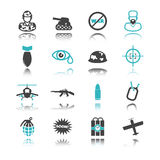 War icons with reflection Stock Image