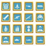 War icons azure. War icons set in azur color isolated vector illustration for web and any design Royalty Free Stock Photo