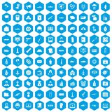 100 war icons set blue. 100 war icons set in blue hexagon isolated vector illustration royalty free illustration