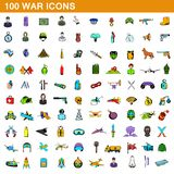 100 war icons set, cartoon style. 100 war icons set in cartoon style for any design illustration vector illustration