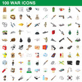 100 war icons set, cartoon style Royalty Free Stock Image