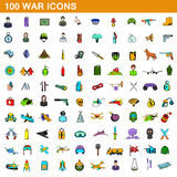 100 war icons set, cartoon style. 100 war icons set in cartoon style for any design vector illustration Stock Photo