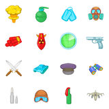 War icons set, cartoon style Royalty Free Stock Images