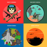 War Icons Set. War concept icons set with death to enemies massive bombing and armed conflict symbols flat  vector illustration Stock Images