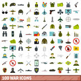 100 war icons set, flat style. 100 war icons set in flat style for any design vector illustration Stock Image