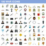 100 war icons set, flat style Royalty Free Stock Image