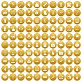 100 war icons set gold. 100 war icons set in gold circle isolated on white vector illustration royalty free illustration
