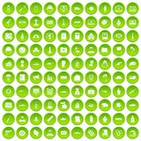 100 war icons set green. 100 war icons set in green circle isolated on white vectr illustration royalty free illustration