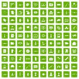 100 war icons set grunge green. 100 war icons set in grunge style green color  on white background vector illustration Royalty Free Stock Photography