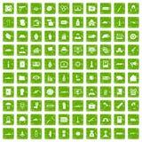 100 war icons set grunge green Royalty Free Stock Photography